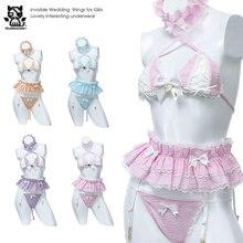Frauen Sexy Kostüm Lolita Nette Maid Uniform Kawaii Anime Bikini Set Versuchung Erotische Unterwäsche Kostüm Cosplay