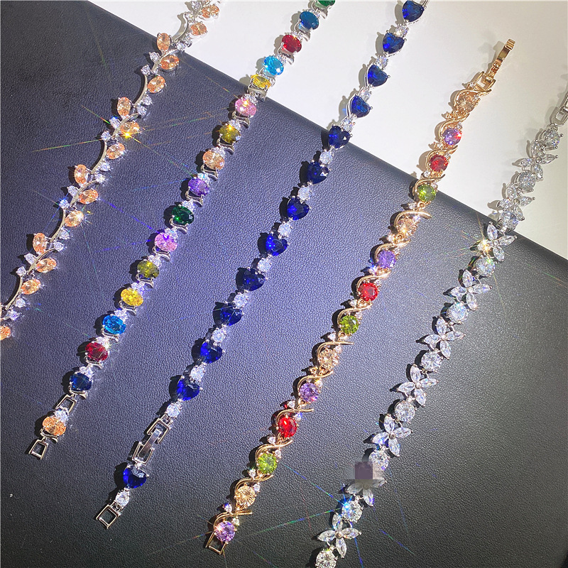 Wholesale 12pcs/Lot Mixed Designs Trendy Female Multicolored Zircon Charm Bracelet Wedding Bracelets for Women Fashion Jewerly|Charm Bracelets| - AliExpress