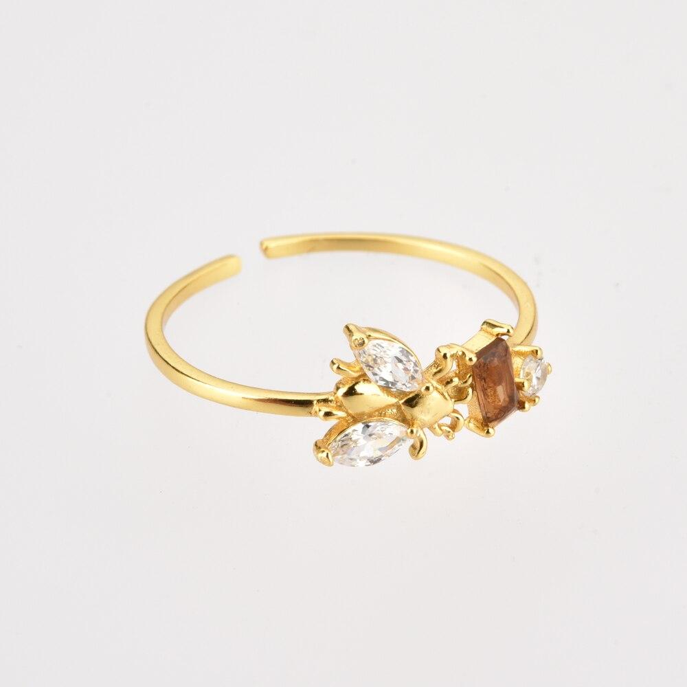 ANDYWEN 925 argent Sterling abeilles anneau réglable femmes mince bagues bijoux lumière animale bijoux pour bijoux de fête de mariage 4
