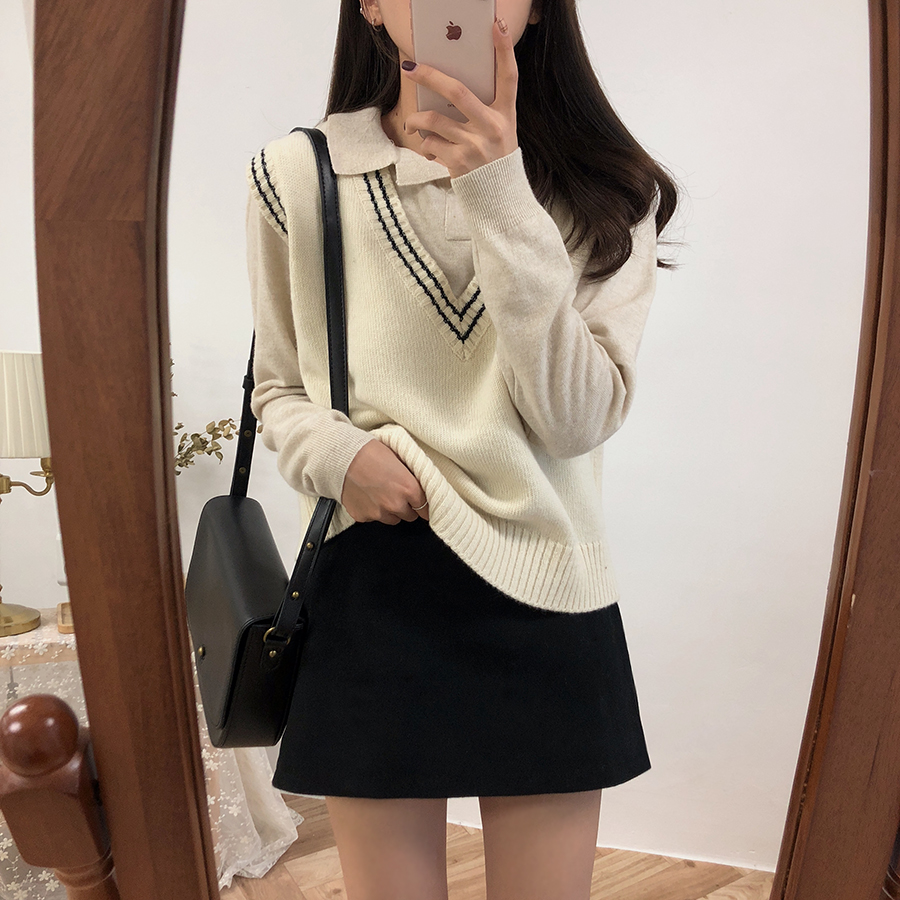 2019 New Autumn Winter Women Sweater Vest Knitted Casual Jumper Fashion V Neck Warm Female Sweater Vest