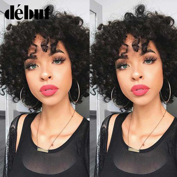 Debut Kinky Curly Wig Human Hair Wigs For Women DX3147 Short Curly Bob Wigs With Bang 100% Remy Human Hair Afro Kinky Curly Wig lekker brazilian human hair wig kinky curly hair bulk afro kinky curly human hair kinky wig short bob curly wigs human hair