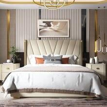Luz de luxo couro cama de casal conteúdo de armazenamento 1.5m 1.8m cama grande pós-moderna cama de couro nordic celebridade mestre casamento cama