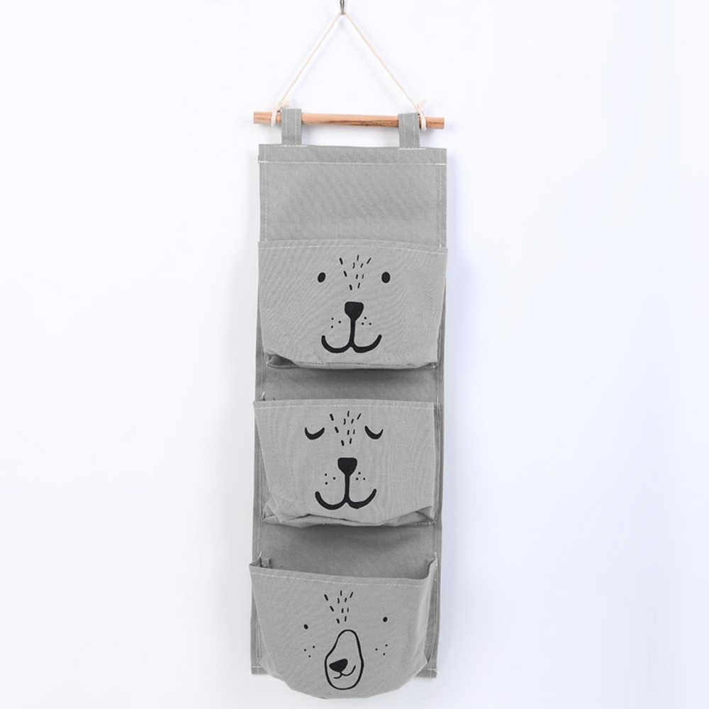 3 bolsos bonito fixado na parede saco de armazenamento armário organizador roupas pendurado saco de armazenamento artigos diversos cosméticos brinquedos saco decoração da sua casa