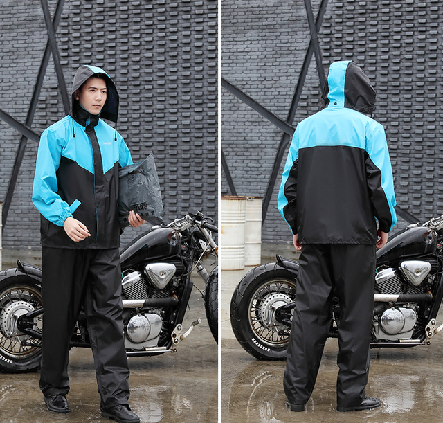 Nylon Electric Motorcycle Raincoat Rain Pants Suit Rain Coat Jacket Adult Rain Suit Men Thicken Double Casaco Masculino Gift 5