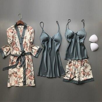 2020 Spring Autumn Women Silk Pajamas Sets With Chest Pads Flower Print Pijama Sleepwear 4 Pieces Spaghetti Strap Satin Pyjamas