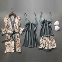 2020 primavera outono feminino pijamas de seda conjuntos com almofadas no peito flor impressão pijamas pijamas pijamas 4 peças cinta espaguete cetim pijamas
