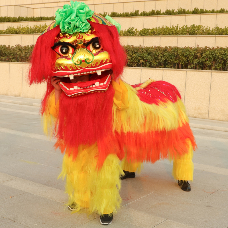 Tenue de danse Lion chinois Costume de danse Lion adulte Double Lion tenue de danse laine fait à la main accessoires de scène pour les chinois d'outre-mer