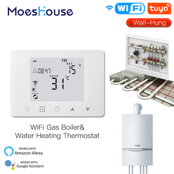WiFi Smart LCD Wall-Hung Gas Boiler Water Underfloor Heating Temperature Controller Smart Life Tuya App Remote Control