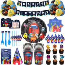 Unter Uns Thema Party Supplies Einweg Geschirr Tasse Platte Serviette Stroh Ballon Happy Birthday Kid lieblings Dekoration