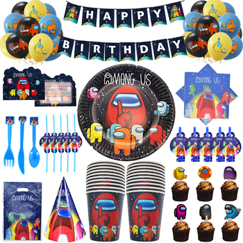 Among Us Theme Party Supplies Disposable Tableware Cup Plate Napkin Straw Balloon Happy Birthday Kid's Favorite Decoration 90pcs lot princess theme party decoration package for kids birthday party disposable supplies cup plate straw napkin flag