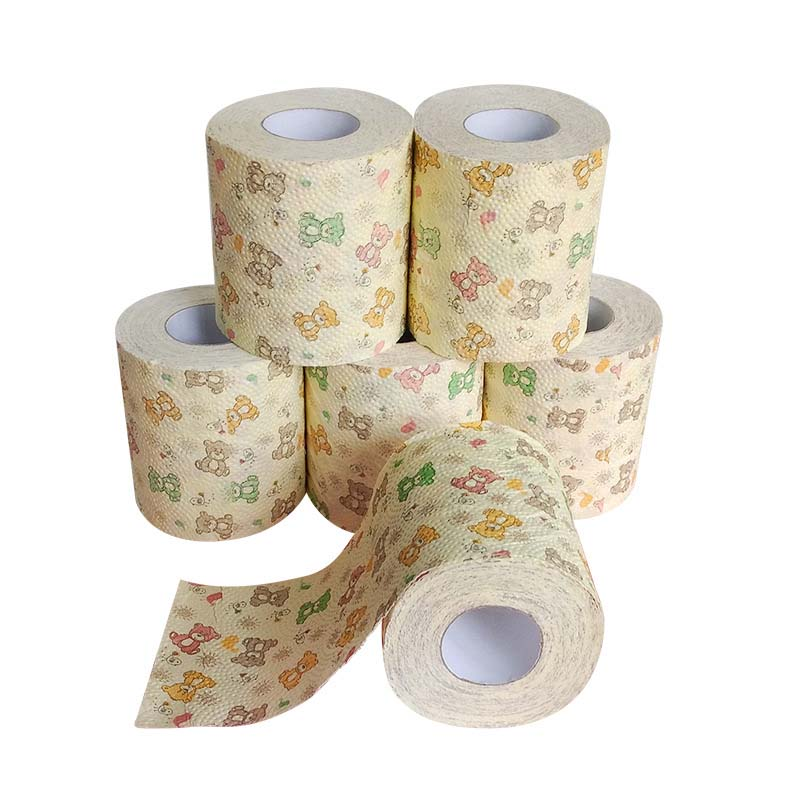 1 Roll Paper Tissue Household Cute Cartoon Printed Roll Paper Napkins Toilet Paper