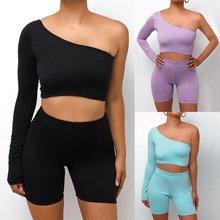 Солидное ассиметричное 2 шт наборы Для женщин спортивный костюм