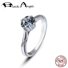 925 Sterling Silver Imitation moissanit Ring Classic Round Cut 1 Row Luxury Engagement Anniversary Rings