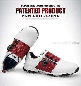 Image 4 - をpgmゴルフシューズメンズレザー防水スニーカー抗スリップ自動shoeslaceソフトで快適通気性スポーツゴルフトレーニングシューズ