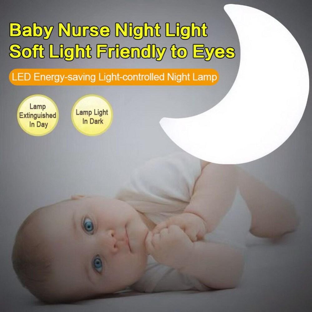 Moon LED Night Light Auto Light Sensor Control LED Wall Night Lights Child Baby Bedroom Bedside Moon Lamp Bulb EU Plug