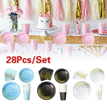 28Pcs Disposable Tableware Set Baby Shower Party Supplies Dinner Cakes Paper Plate Gold Foil Dot Dishes for Birthday Christmas