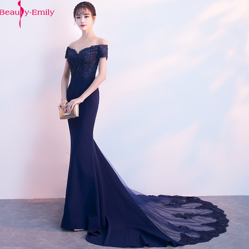 Beauty Emily Lace Navy Blue Evening Dress 2019 Beads Sequined Long Lace Up Formal Party Prom Dress Floor-length  Robe De Soiree