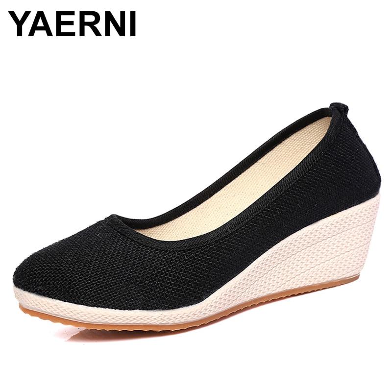 YAERNI Women Pure Color Vintage Hemp Wedge Pumps Round Toe Casual Lady Mid Heel Slip-on Walking Shoes Closed Toe Espadrilles