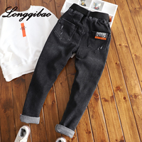 Children's pants soft high elastic jeans boy 2019 autumn new big boy black trousers tide boy pants