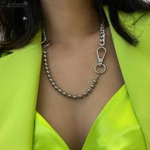 Lacteo Exaggerated Big Clasp Long Clavicle Chain Choker Necklace Jewelry for 2020 Hip Hop Thick Chunky Bead Chain Charm Necklace
