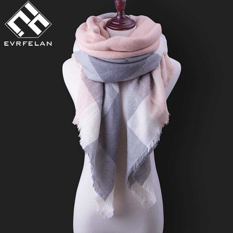 Bufanda de invierno a la moda para mujer bufanda de Cachemira caliente a cuadros Pashmina bufanda de marca de lujo abrigos bufandas y chales femeninos