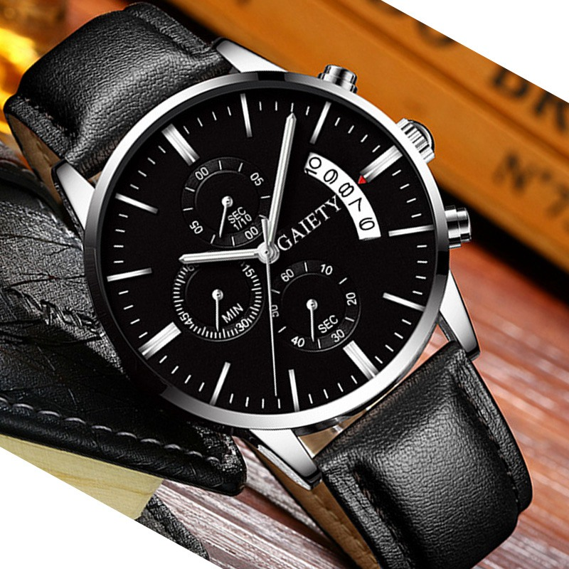 2019 relogio masculino watches men Fashion Sport Stainless Steel Case Leather Band watch Quartz Business Wristwatch reloj hombre 6