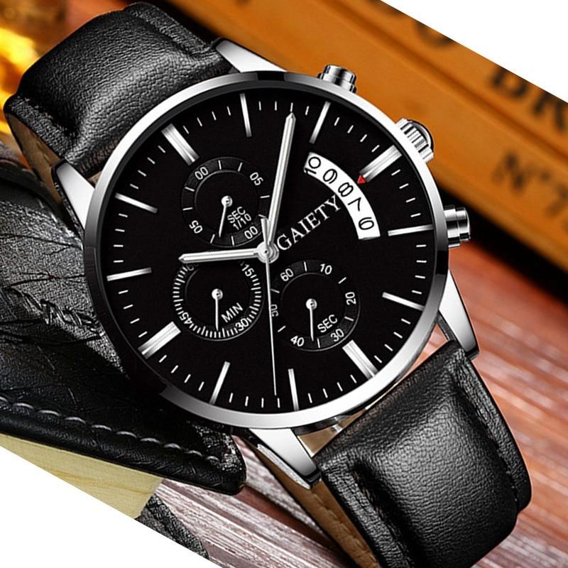 2019 relogio masculino watches men Fashion Sport Stainless Steel Case Leather Band watch Quartz Business Wristwatch reloj hombre 5