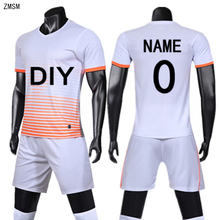 ZMSM Kids Adult Soccer Jerseys Kit Survetement Football Children Men Uniform Short sleeve training suit Sports clothes