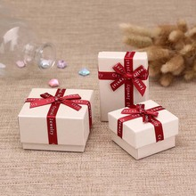 1 Pc Necklace Earring Jewelry Boxes Paper Beige Color Red Ribbon Bowknot For Jewelry Packing Display Gift Geometric Box