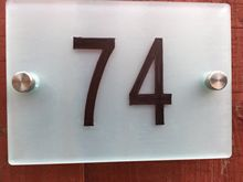 CIVIC Number Sign / Satin Acrylic /House number/Apartment number A4 modern and contemporary plate my apartment
