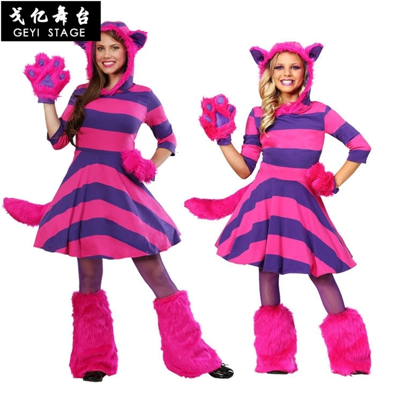 Alice In Wonderland's Cheshire Cat Cosplay Dress For Grown-up Children Halloween Costume Costume Costume Party Father-child Suit