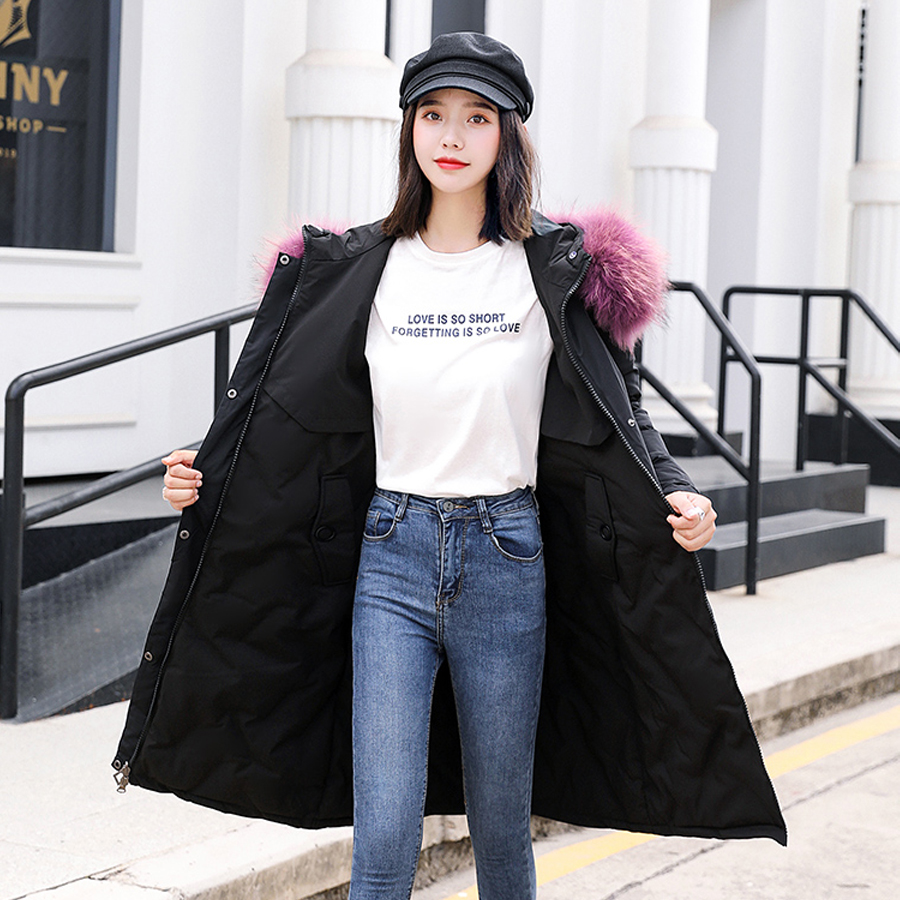 women jacket for winter 2019 cotton padded warm thicken Wear on both sides long Outwear plus size winter coat female parka