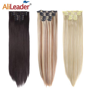 Alileader 22-Hairpiece 16-Clips Heat-Resistant False-Styling Straight Synthetic 140G