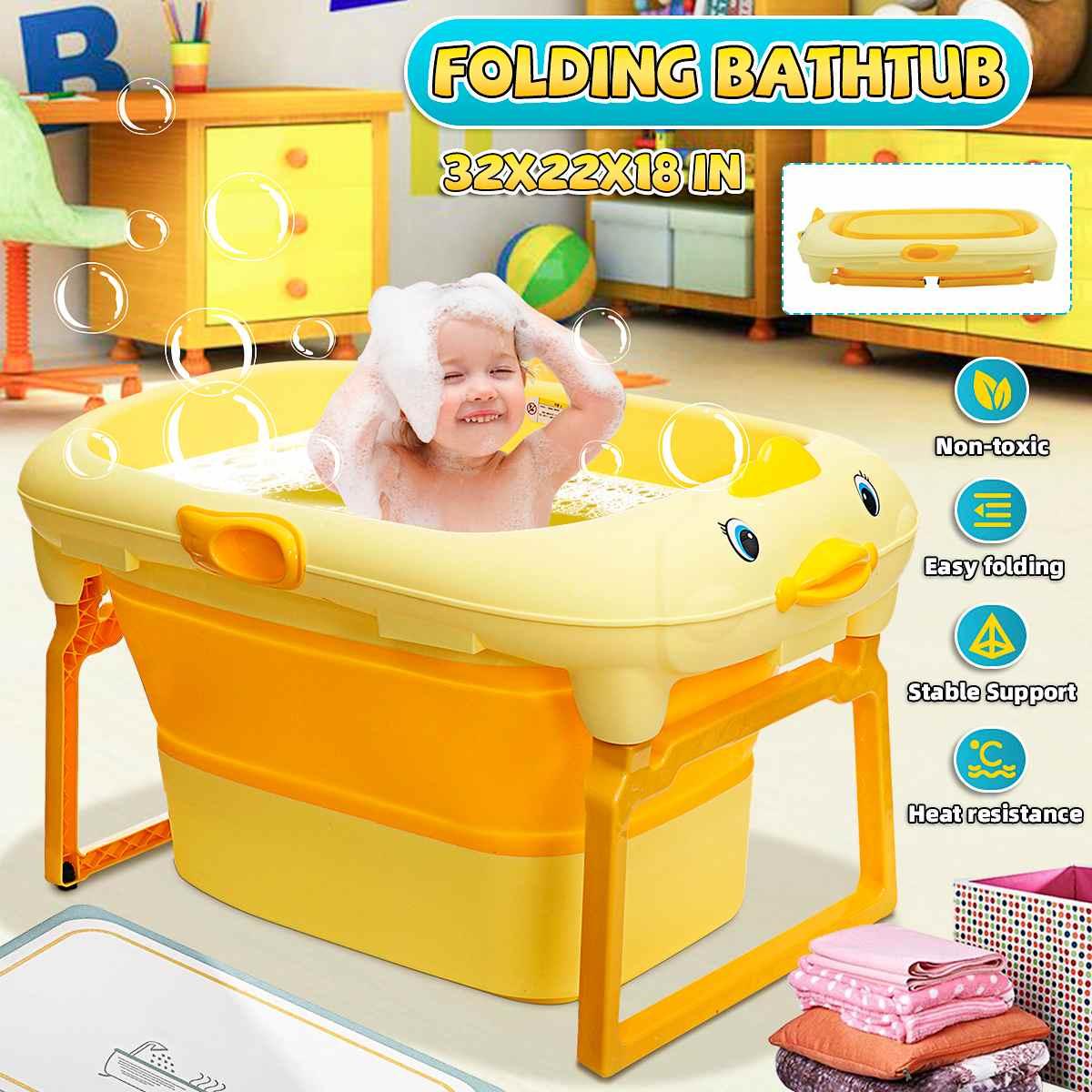 Baby Bathtub with Detachable Bath Stool Folding Swimming Pool Duck Shape Children's Bath Barrel Baby Sit Lying for 0-15+ Baby