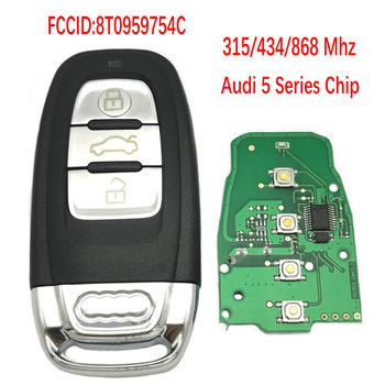 Datong World Car Remote Key For Audi Q5 A4L A5 A6 A7 A8 RS4 RS5 S4 S5 315 434 868 Mhz Smart Control Card Key Blade With Logo image