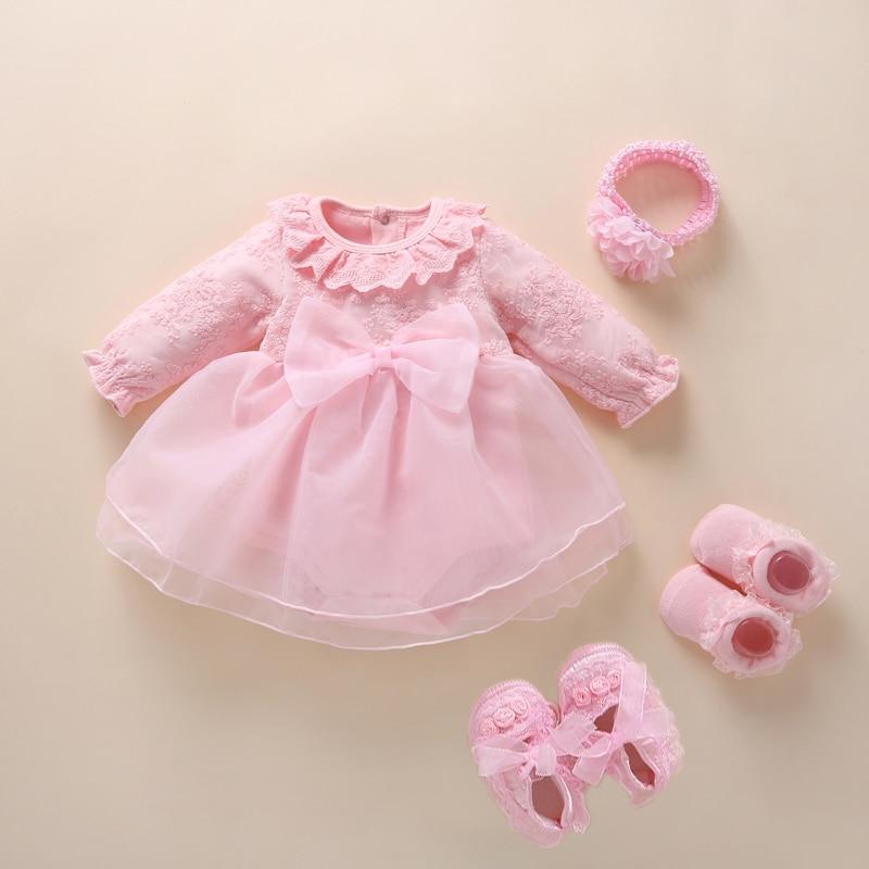 Платье для новорожденных девочек, хлопковое платье принцессы для крещения, для детей 0, 3, 6 месяцев, 2019