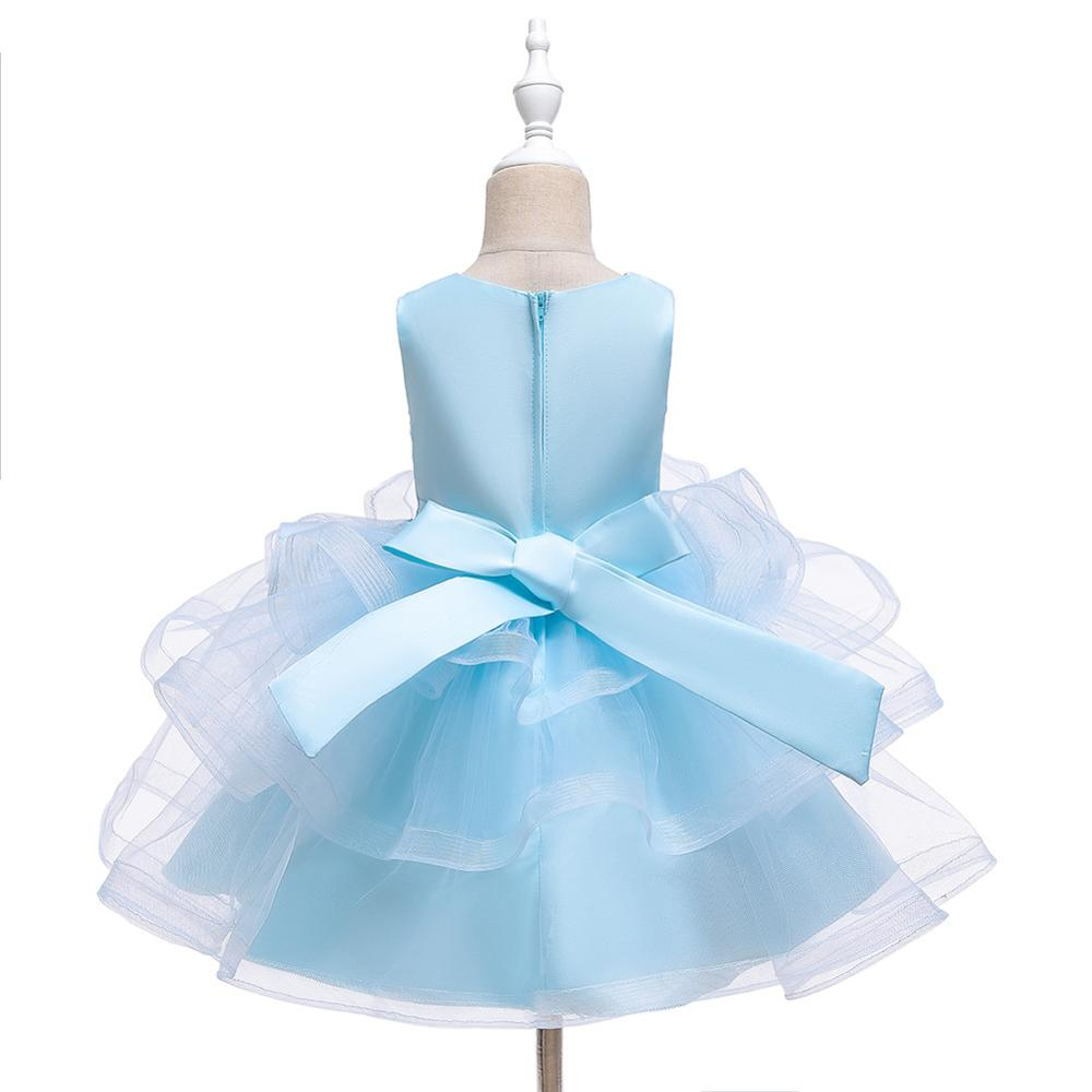 Flower Girl Dresses For Girls O-Neck Elegant Kids Party Gowns Appliques Bow Short Wedding Communion Dress  Light Blue