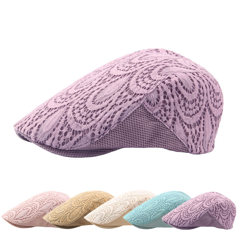 Sun Female Spring Summer Beret Mesh Hollow Breathable Lace flowers Women Hat