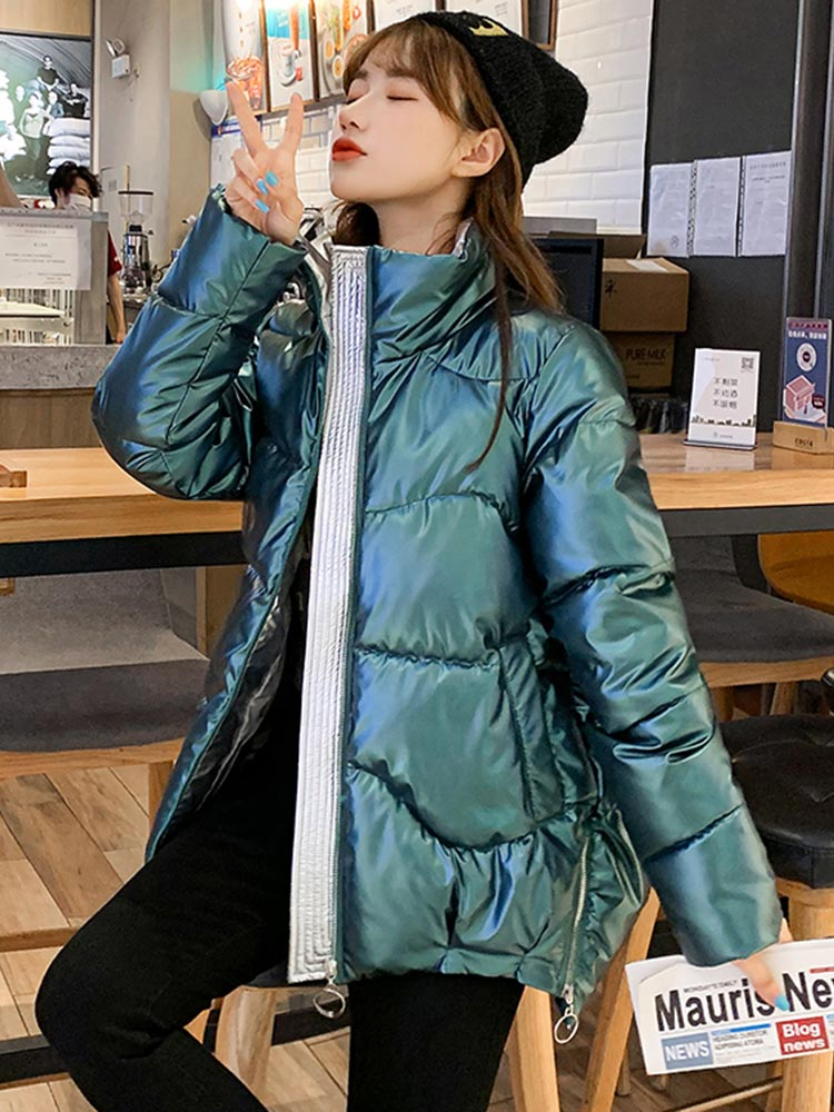 Winter Jacket Padded Parkas Glossy-Stand Cotton Coat Shinny Autumn Fashion Women's Pinkyisblack
