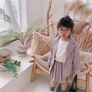Image 2 - Baby Girl Casual Blazer Jackets Sets 2019 Autumn New Toddler Outfits Kids Girls Long Sleeve Blazer Coat+skirt/pants Suits 2 7Y