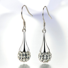 Women s Luxury Rhinestone Crystal Ball Earrings Fashion Silver Jewelry Princess Stud New Waterdrop Earring
