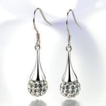Women s Luxury Rhinestone Crystal Ball Earrings Fashion Silver Jewelry Princess Stud New Waterdrop Earring