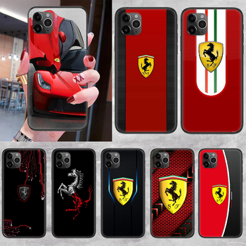 Ferrares Car Sport Phone Case Cover Hull For iphone 5 5s se 2 6 6s 7 8 12 mini plus X XS XR 11 PRO MAX black trend shell soft image