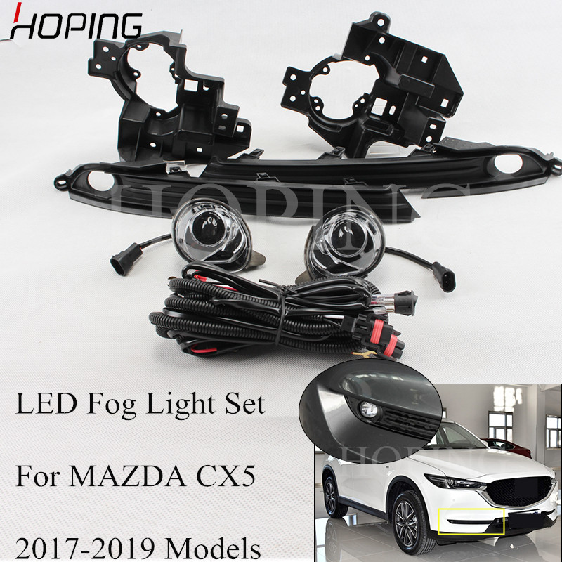 High Quality 1 Set Car Styling <font><b>LED</b></font> Fog Light Assembly KIt For <font><b>MAZDA</b></font> CX5 <font><b>CX</b></font>-<font><b>5</b></font> <font><b>LED</b></font> Fog <font><b>Lamp</b></font> MOtification Harness Set image