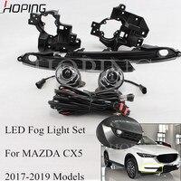 High Quality 1 Set Car Styling LED Fog Light Assembly KIt For MAZDA CX5 CX 5 LED Fog Lamp MOtification Harness Set