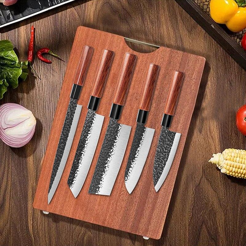 Набор кухонных ножей, кованый мясницкий нож сантоку для ловли лосося и рыбы, профессиональный японский шеф-нож