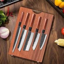 Conjunto de facas de cozinha forjada faca cutelo de carne salmão peixe filleting santoku faca chef japonês profissional