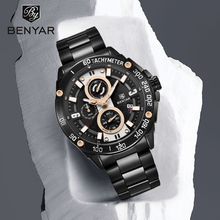 BENYAR męskie zegarki kwarcowe Top marka luksusowy zegarek człowiek stal wodoodporny Sport mężczyzna zegarek chronograf Relogio Masculino 2019