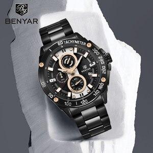 Image 1 - Benyarクォーツメンズ腕時計トップブランドの高級時計男性鋼防水スポーツメンズ腕時計クロノグラフレロジオmasculino 2019