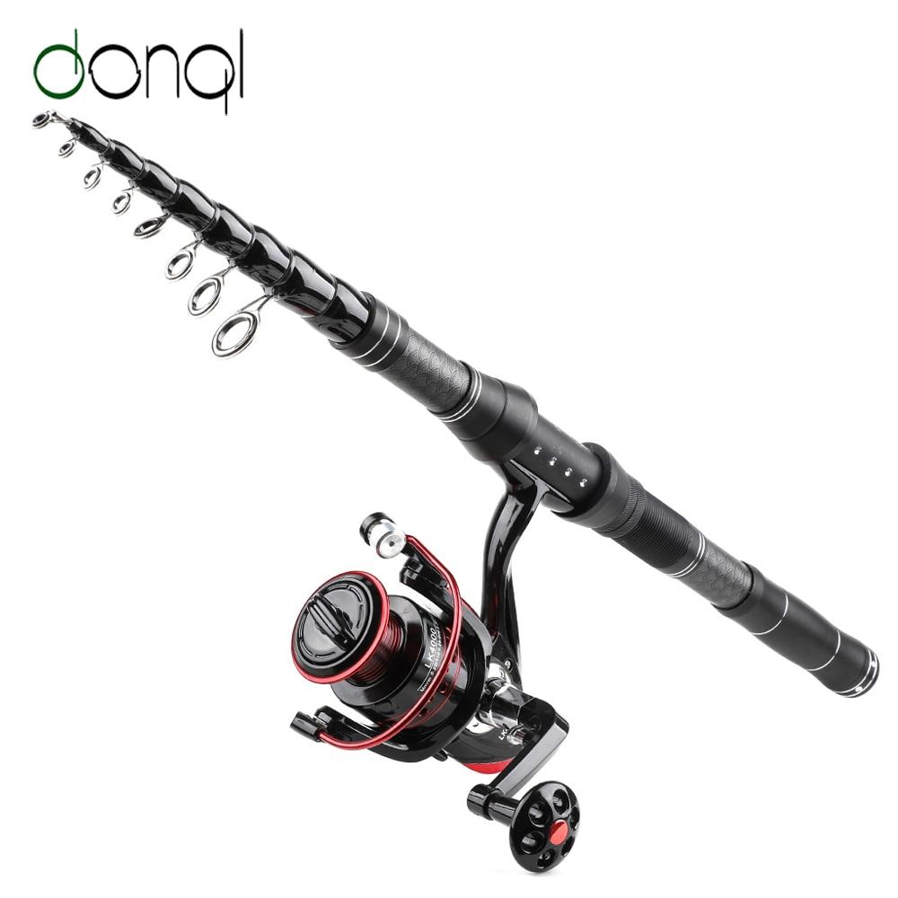 DONQL Telescopic Spinning Rod Fishing Reel Set Travel Surf Carbon Fiber Fishing Rod Metal Spool Spinning Reel Fishing Combo